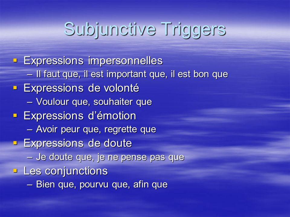 Subjunctive Triggers Expressions impersonnelles Expressions de volonté