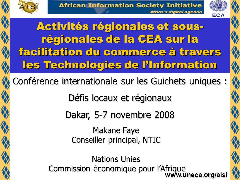 Activités régionales et sous-régionales de la CEA sur la facilitation du commerce à travers les Technologies de l'Information