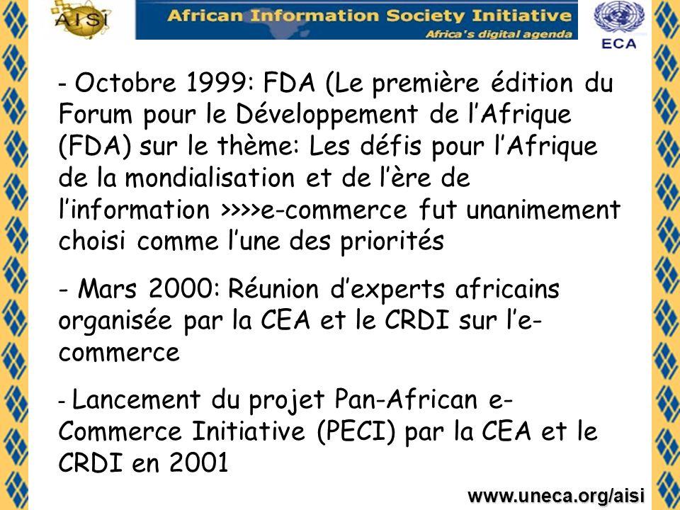 Octobre 1999: FDA (Le première édition du Forum pour le Développement de l'Afrique (FDA) sur le thème: Les défis pour l'Afrique de la mondialisation et de l'ère de l'information >>>>e-commerce fut unanimement choisi comme l'une des priorités