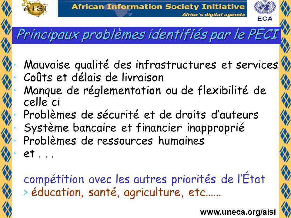 Principaux problèmes identifiés par le PECI