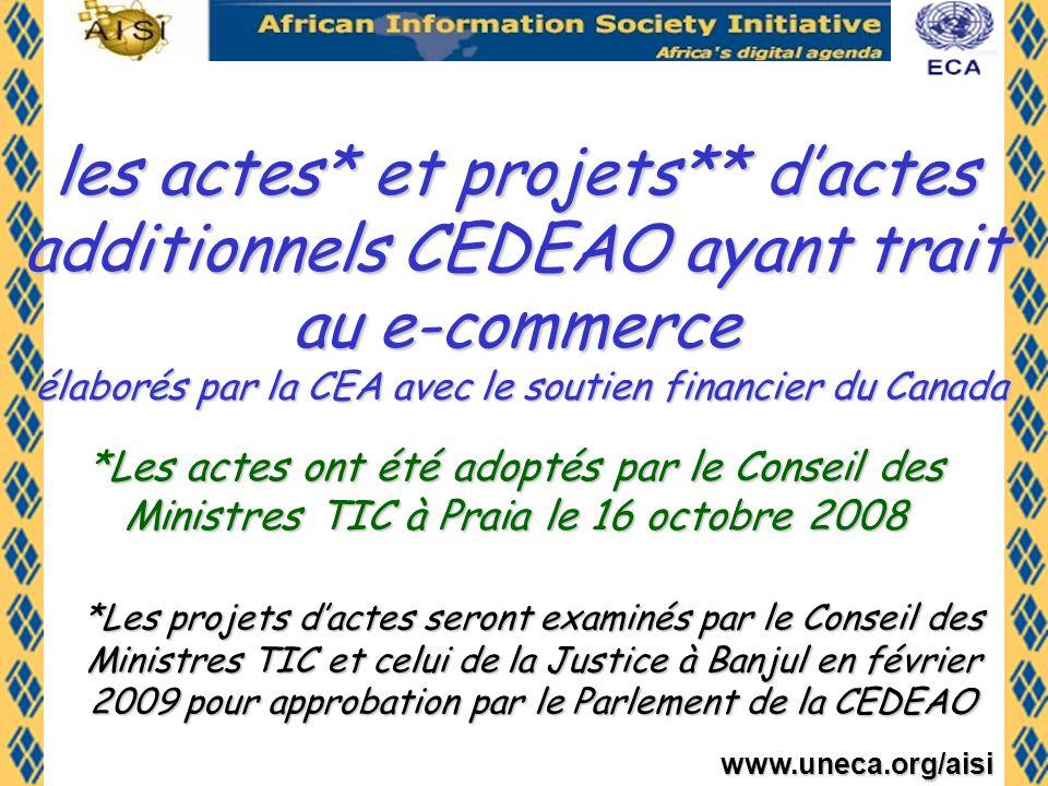 les actes* et projets** d'actes additionnels CEDEAO ayant trait au e-commerce élaborés par la CEA avec le soutien financier du Canada
