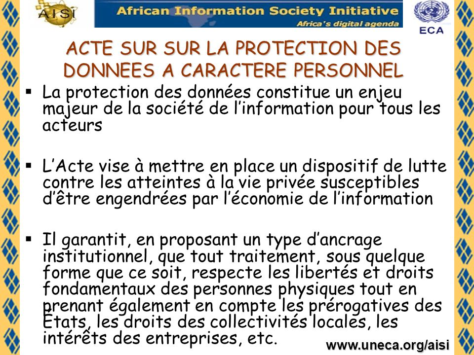 ACTE SUR SUR LA PROTECTION DES DONNEES A CARACTERE PERSONNEL