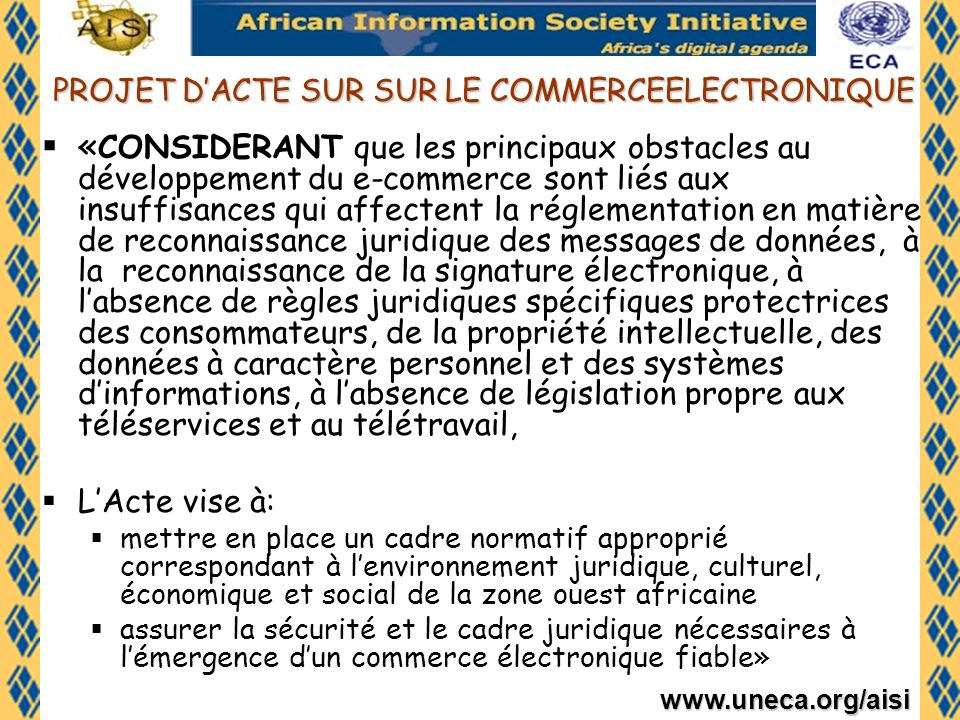 PROJET D'ACTE SUR SUR LE COMMERCEELECTRONIQUE