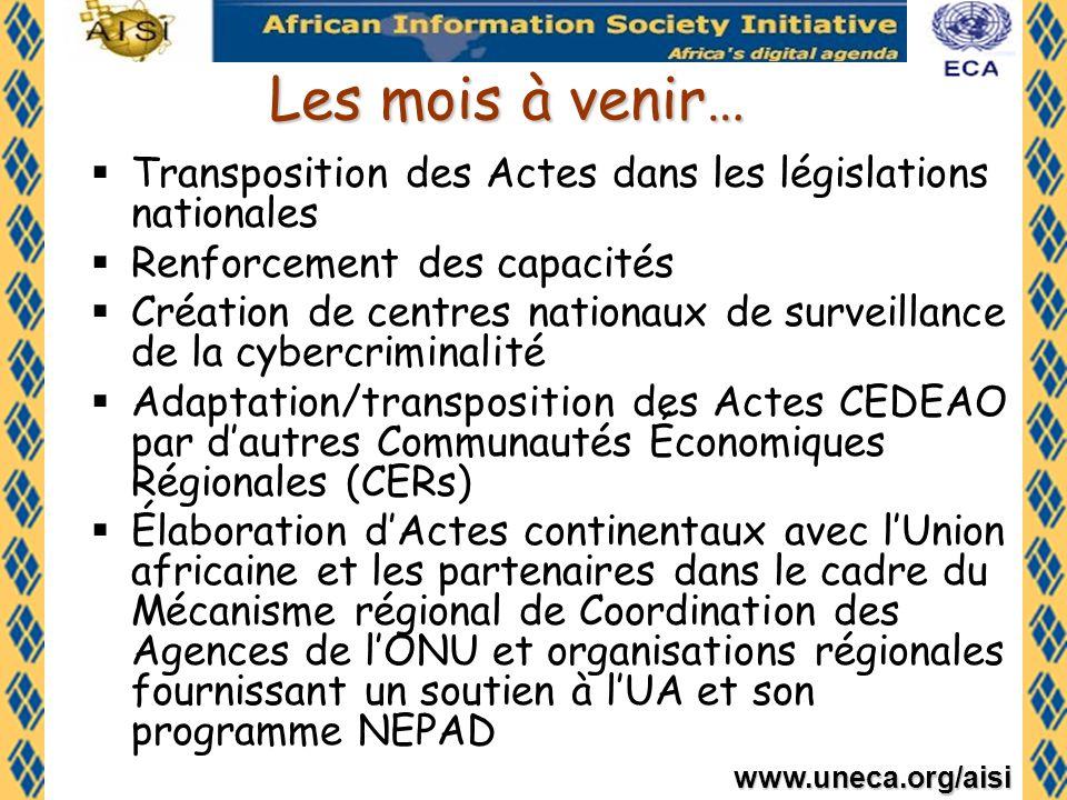 Les mois à venir… Transposition des Actes dans les législations nationales. Renforcement des capacités.