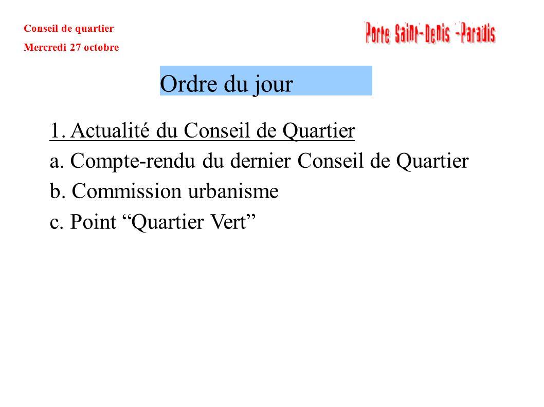 Ordre du jour 1. Actualité du Conseil de Quartier