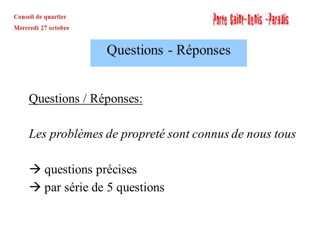 Questions - Réponses Questions / Réponses: