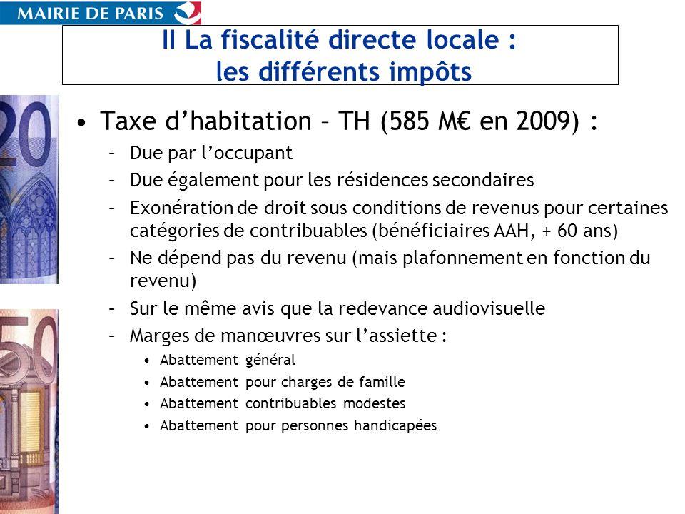 II La fiscalité directe locale : les différents impôts