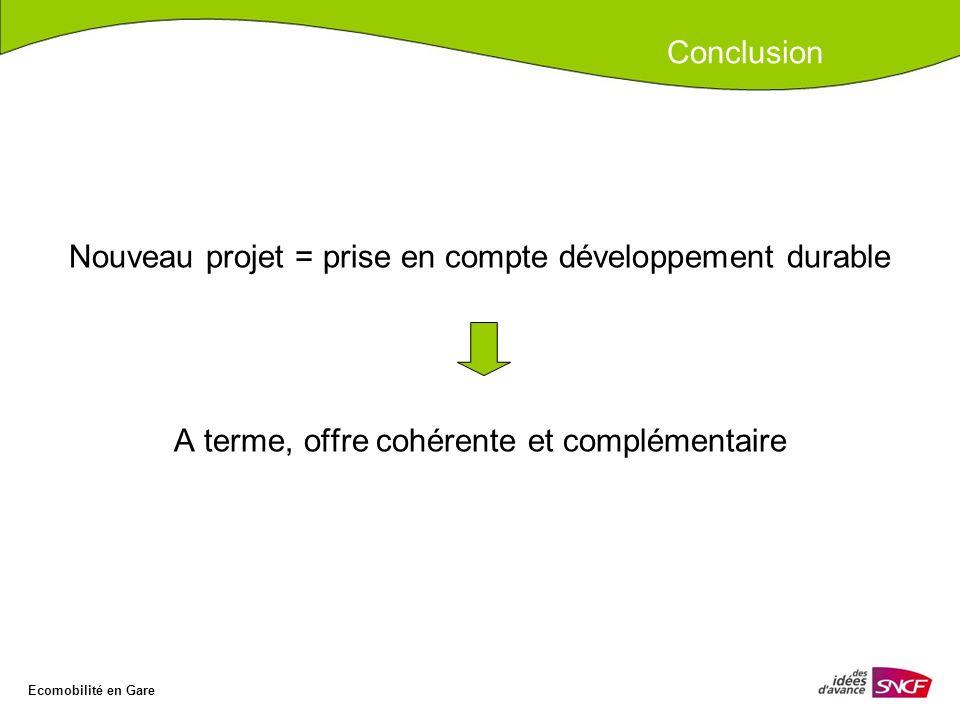 Nouveau projet = prise en compte développement durable