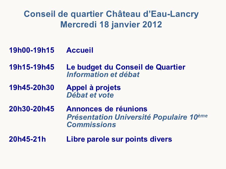 Conseil de quartier Château d'Eau-Lancry