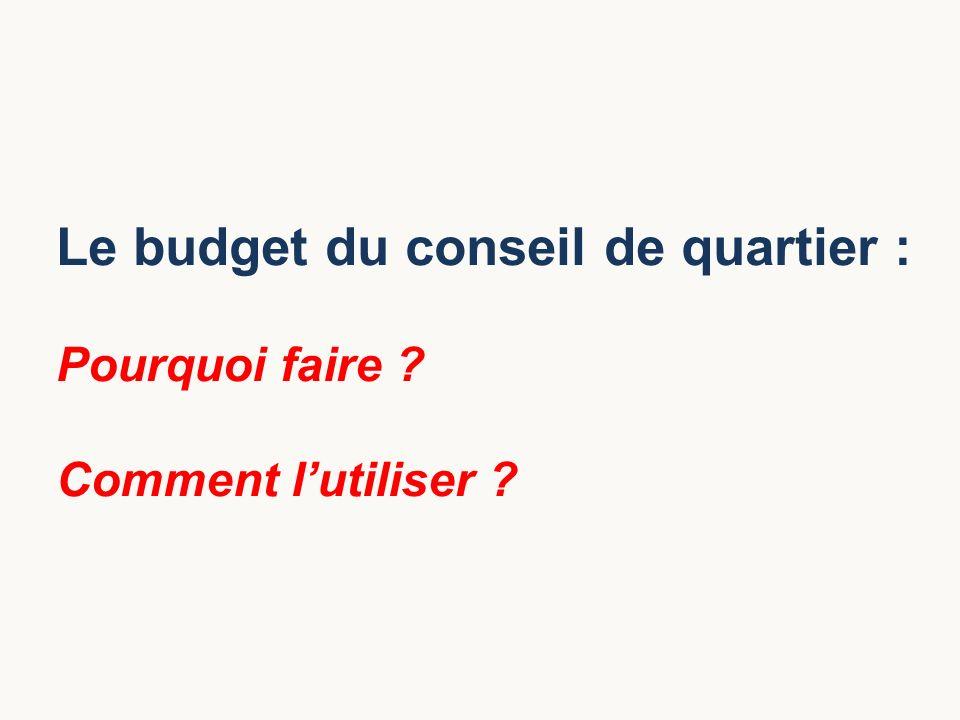 Le budget du conseil de quartier :