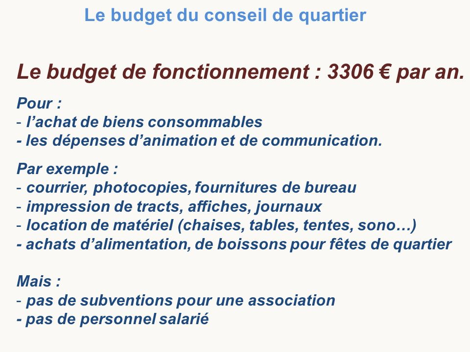 Le budget de fonctionnement : 3306 € par an.