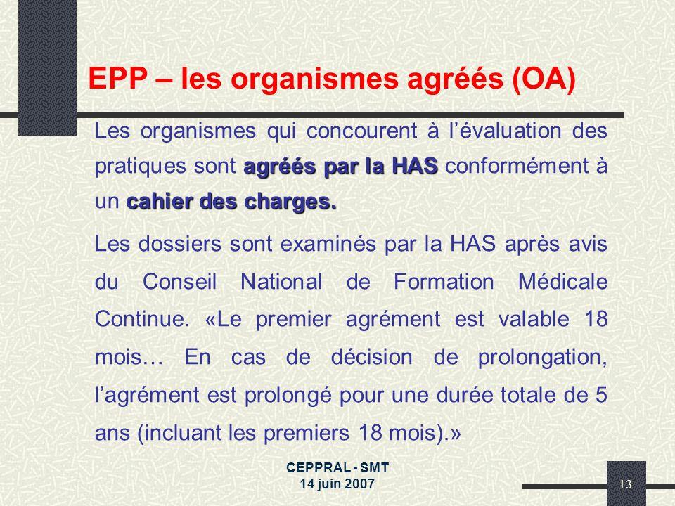 EPP – les organismes agréés (OA)