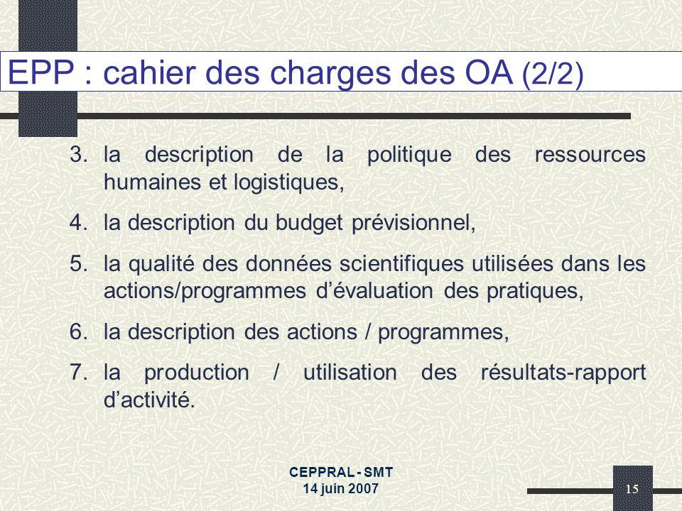 EPP : cahier des charges des OA (2/2)