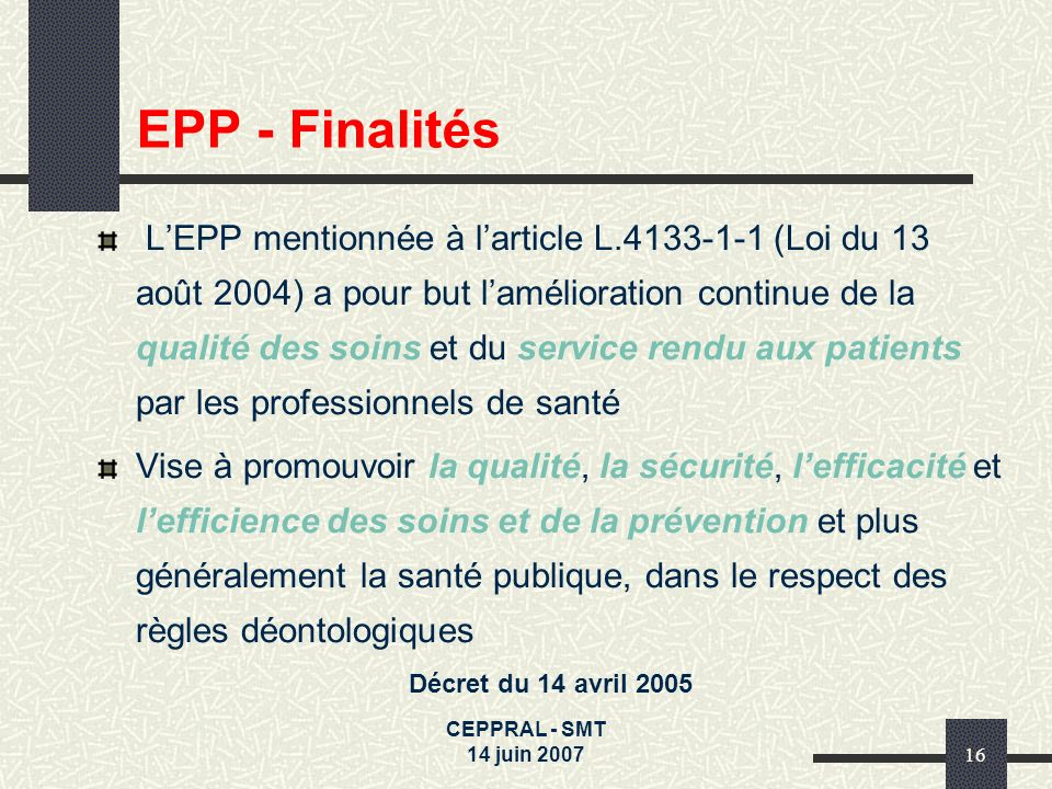 EPP - Finalités