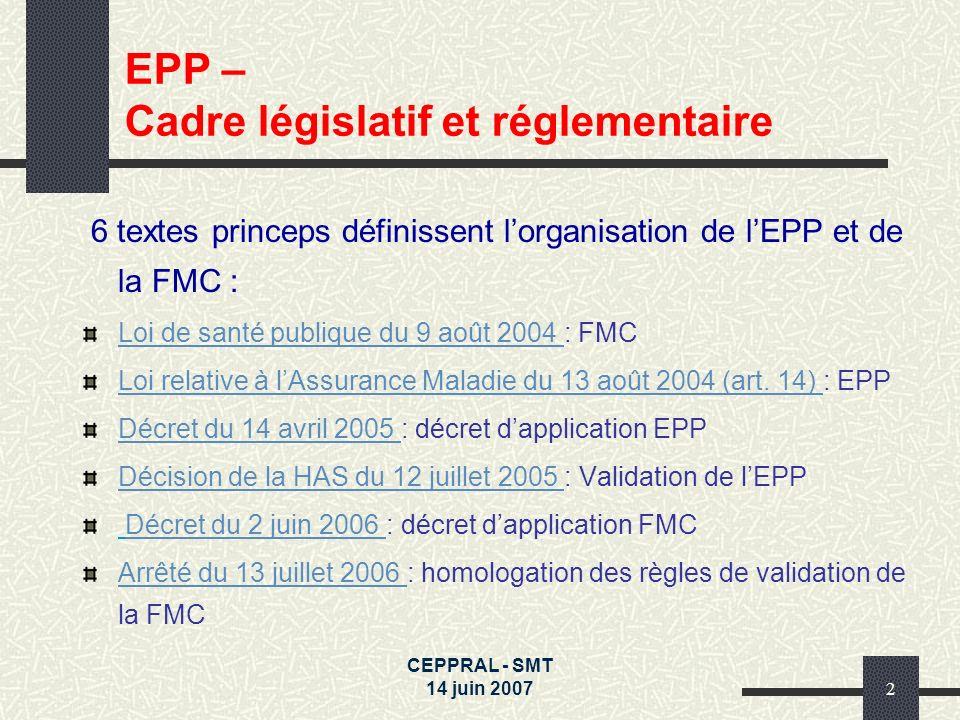 EPP – Cadre législatif et réglementaire