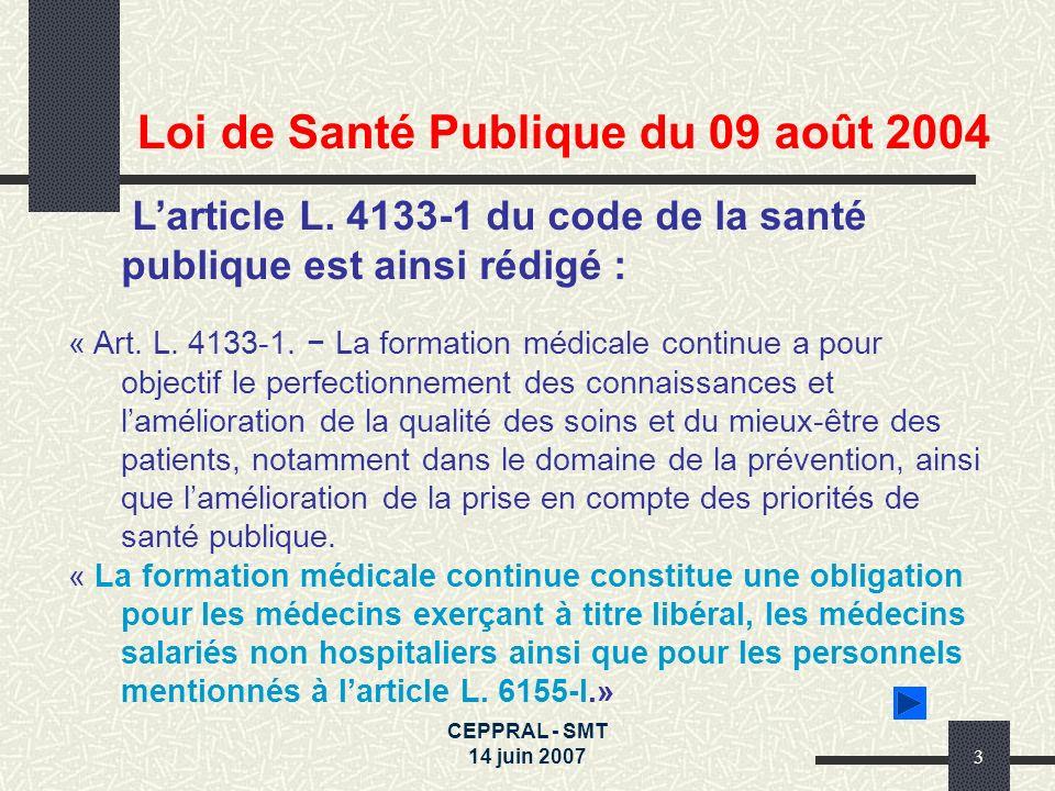 Loi de Santé Publique du 09 août 2004