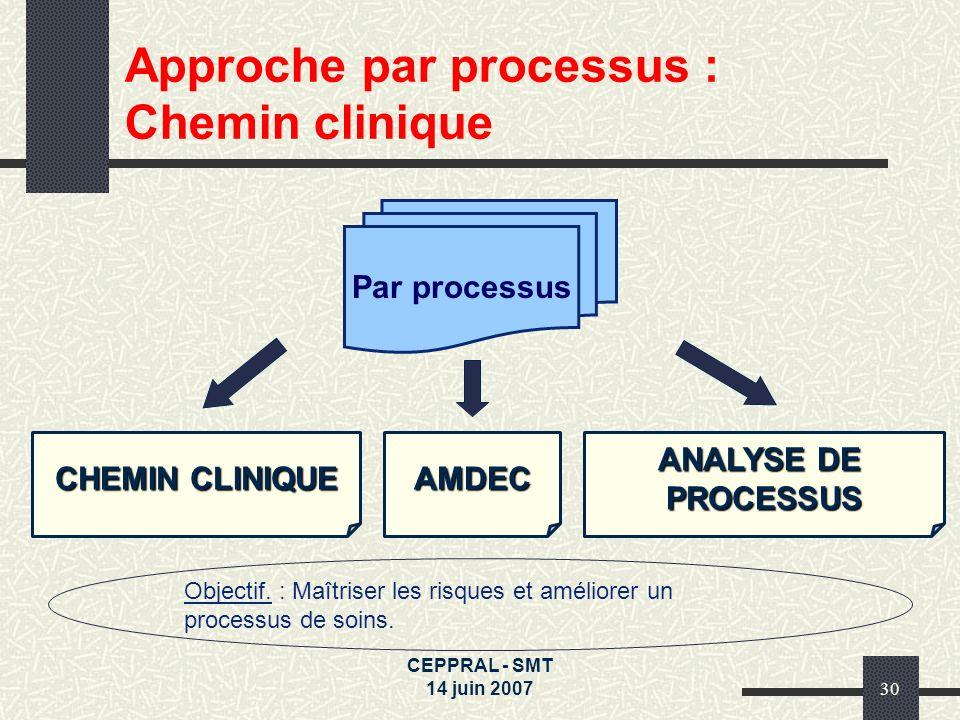 Approche par processus : Chemin clinique