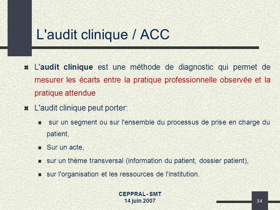L audit clinique / ACC