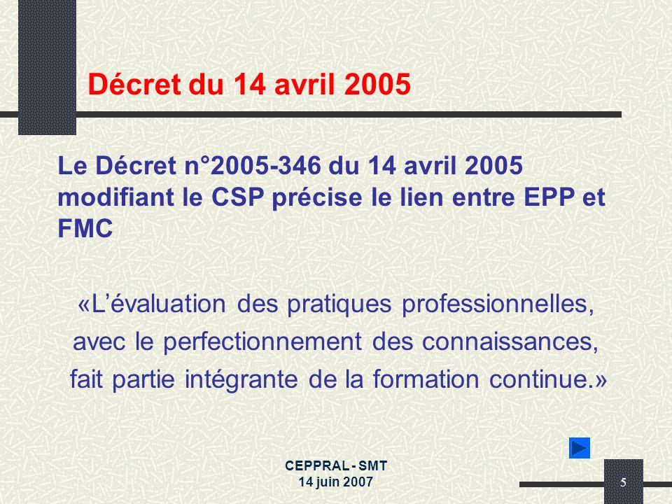 Décret du 14 avril 2005Le Décret n°2005-346 du 14 avril 2005 modifiant le CSP précise le lien entre EPP et FMC.