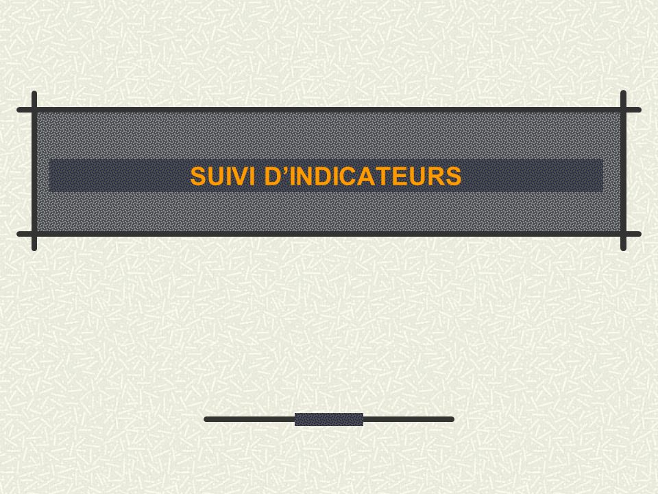 SUIVI D'INDICATEURS