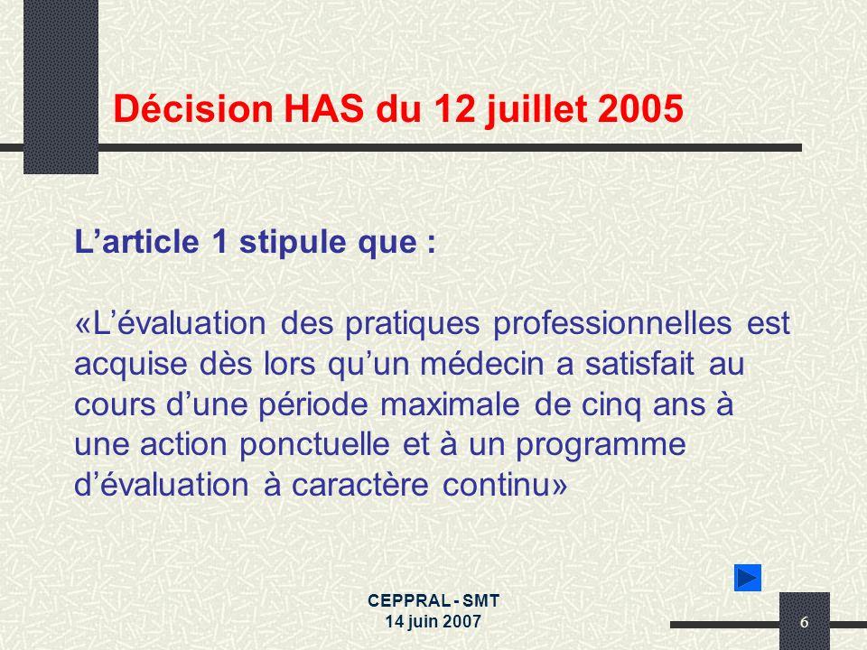 Décision HAS du 12 juillet 2005