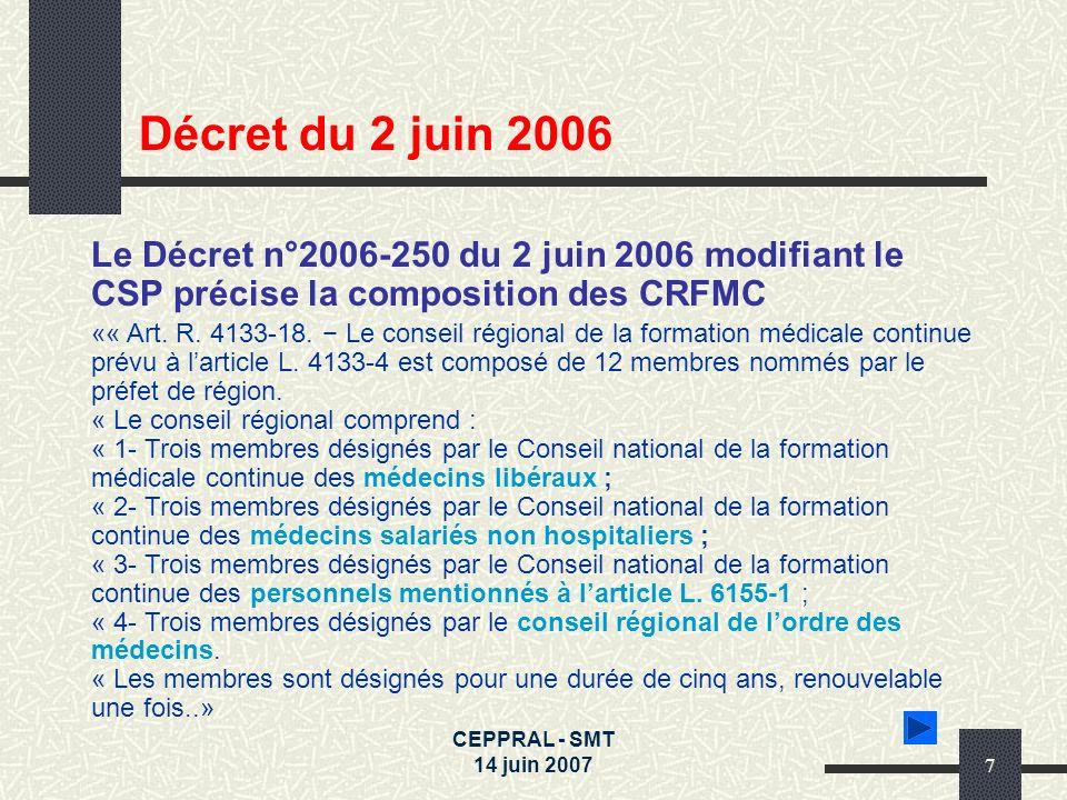 Décret du 2 juin 2006Le Décret n°2006-250 du 2 juin 2006 modifiant le CSP précise la composition des CRFMC.