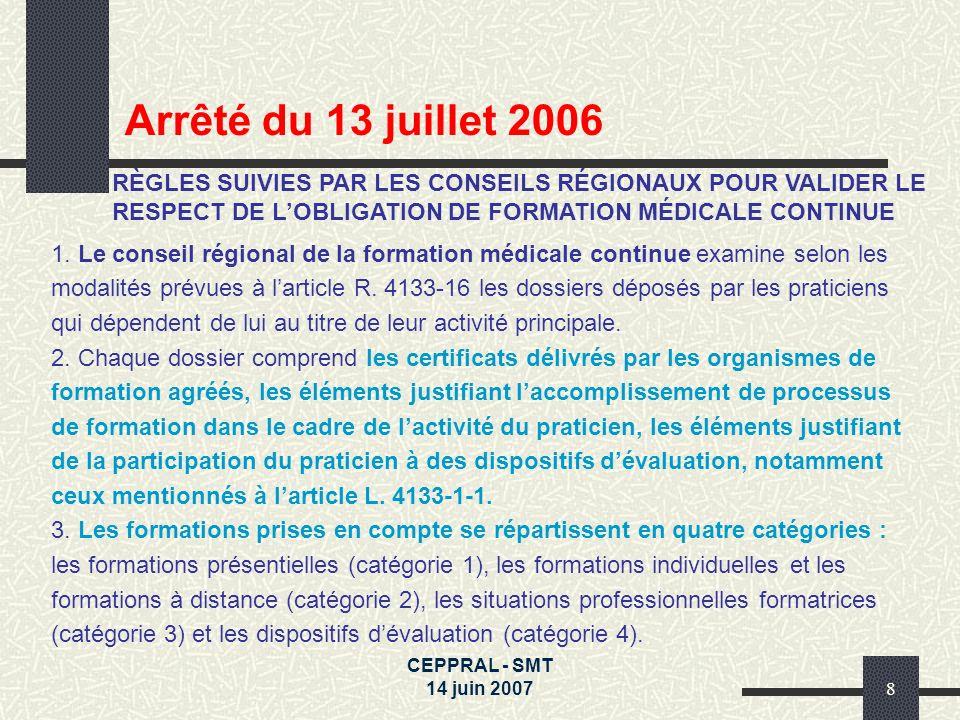 Arrêté du 13 juillet 2006RÈGLES SUIVIES PAR LES CONSEILS RÉGIONAUX POUR VALIDER LE RESPECT DE L'OBLIGATION DE FORMATION MÉDICALE CONTINUE.