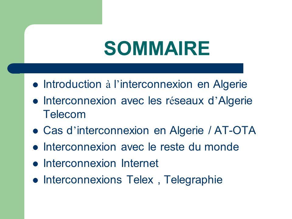 SOMMAIRE Introduction à l'interconnexion en Algerie