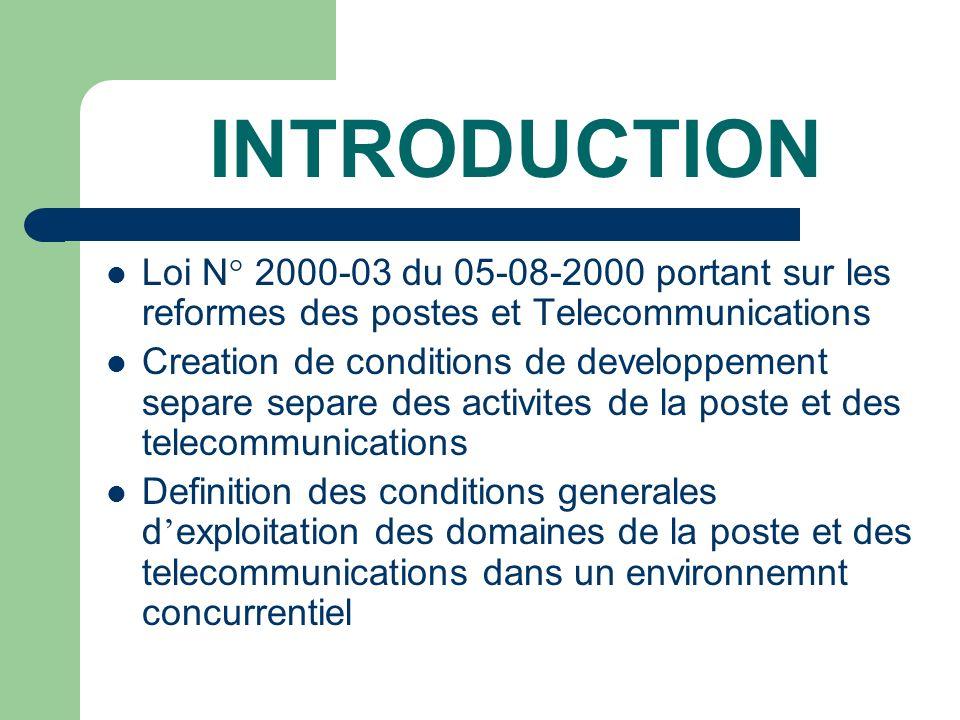 INTRODUCTION Loi N° 2000-03 du 05-08-2000 portant sur les reformes des postes et Telecommunications.