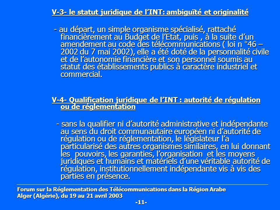 V-3- le statut juridique de l'INT: ambiguïté et originalité