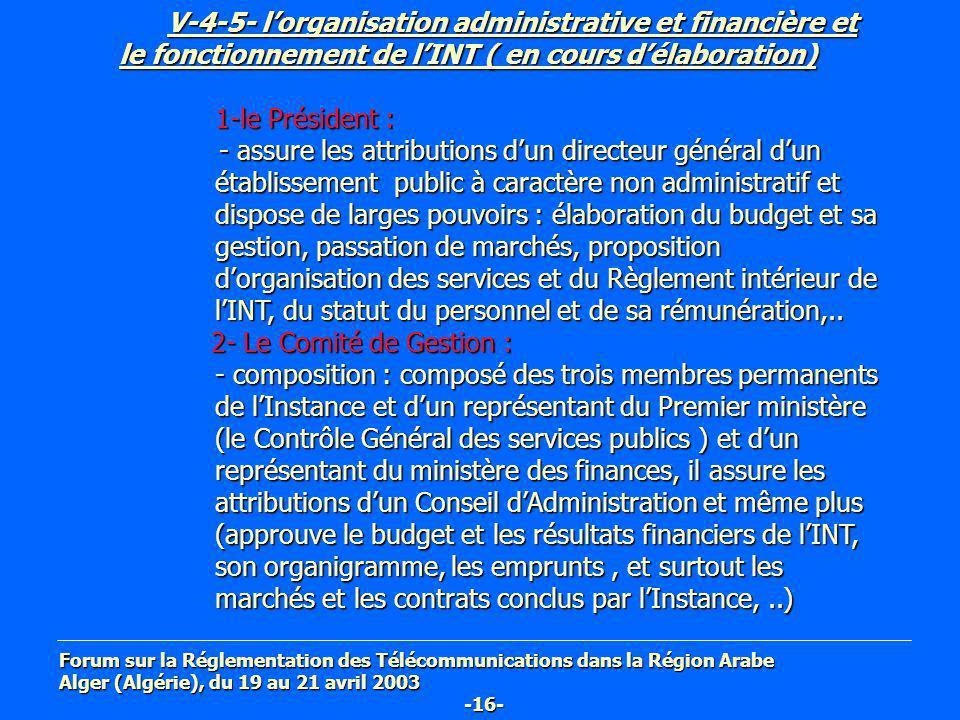 V-4-5- l'organisation administrative et financière et le fonctionnement de l'INT ( en cours d'élaboration)