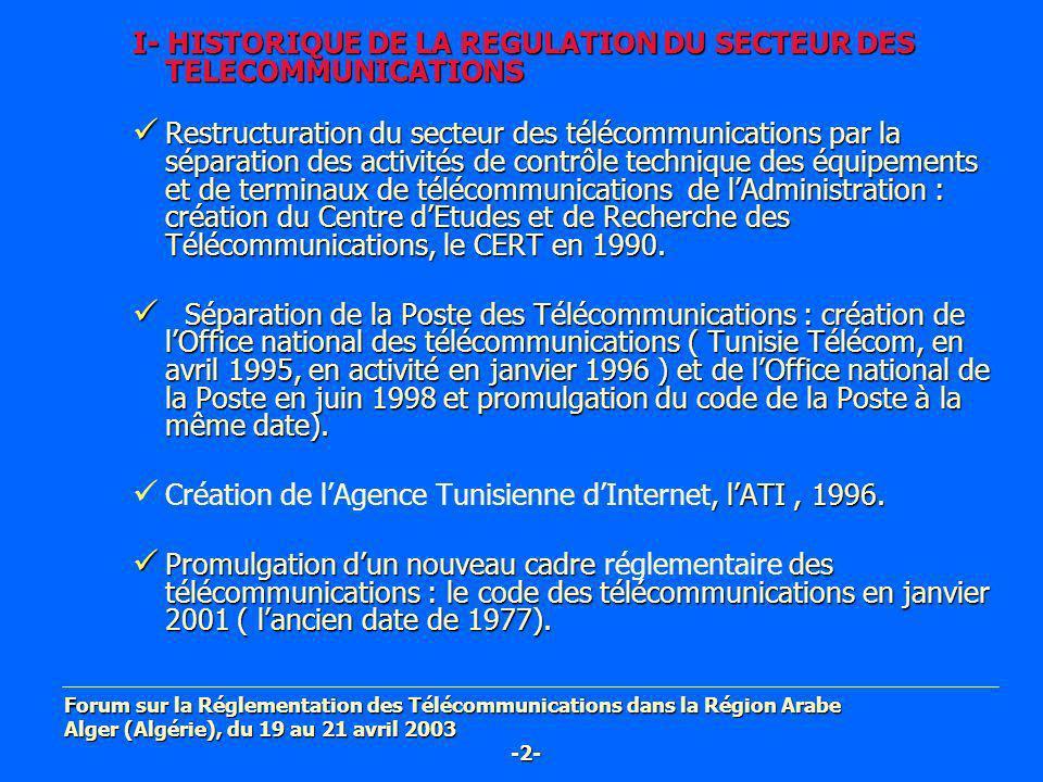 I- HISTORIQUE DE LA REGULATION DU SECTEUR DES TELECOMMUNICATIONS