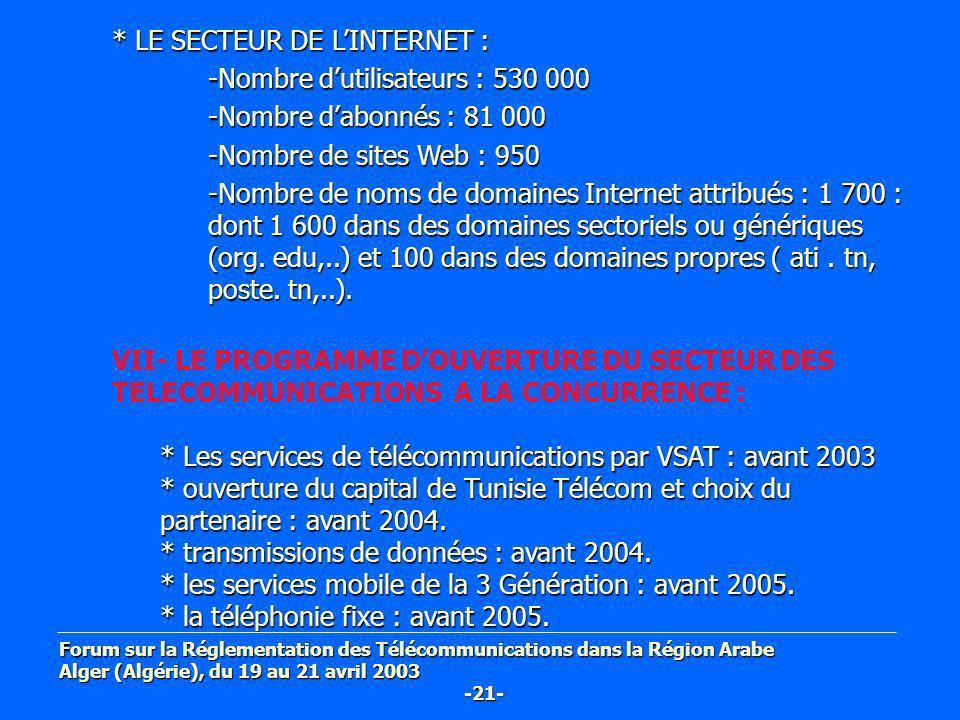 * LE SECTEUR DE L'INTERNET : -Nombre d'utilisateurs : 530 000