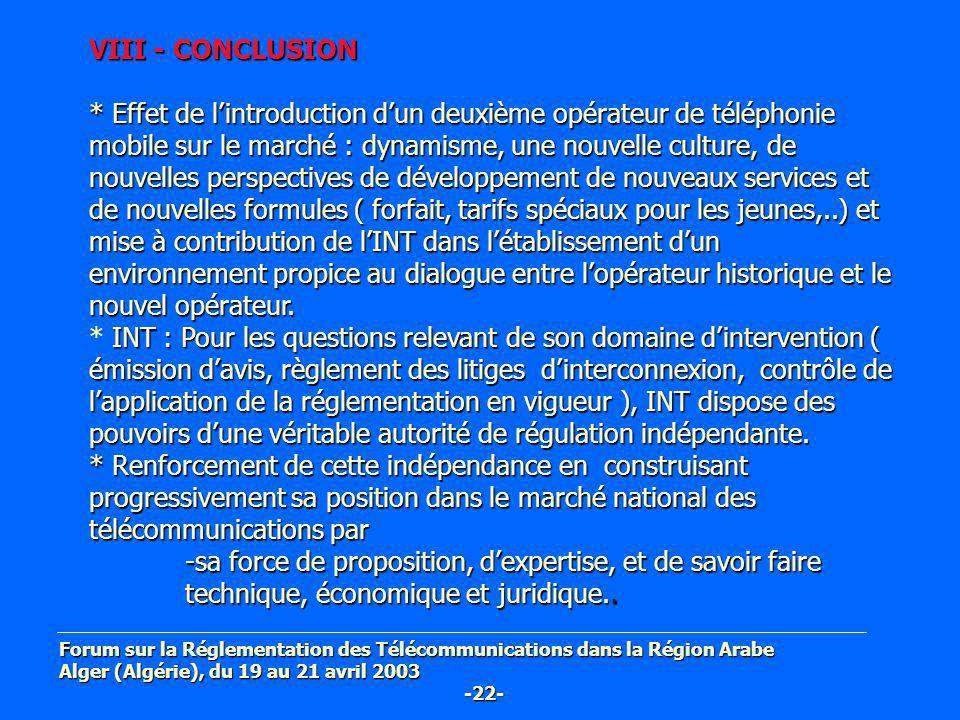 VIII - CONCLUSION