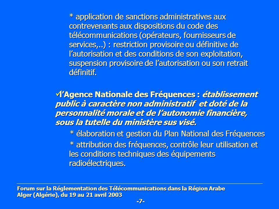 * élaboration et gestion du Plan National des Fréquences