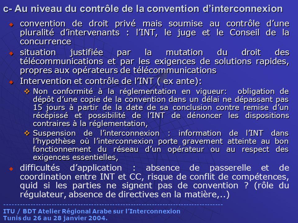 c- Au niveau du contrôle de la convention d'interconnexion