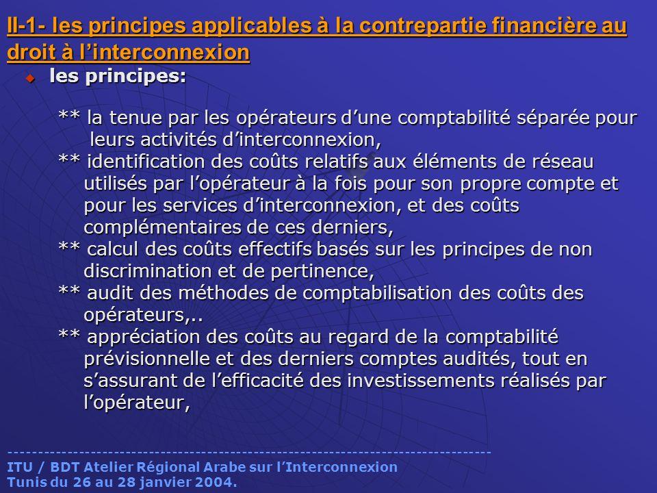 II-1- les principes applicables à la contrepartie financière au droit à l'interconnexion