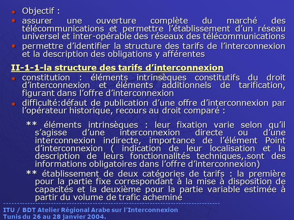II-1-1-la structure des tarifs d'interconnexion