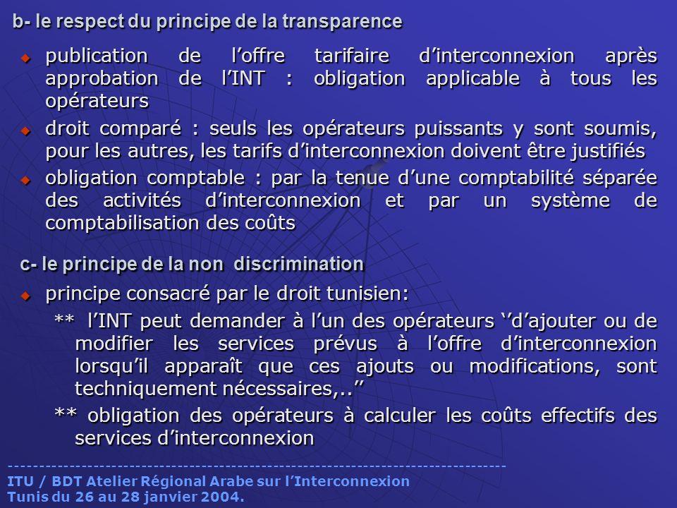 b- le respect du principe de la transparence