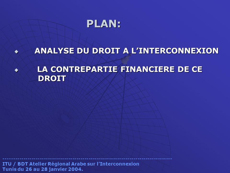 ANALYSE DU DROIT A L'INTERCONNEXION LA CONTREPARTIE FINANCIERE DE CE