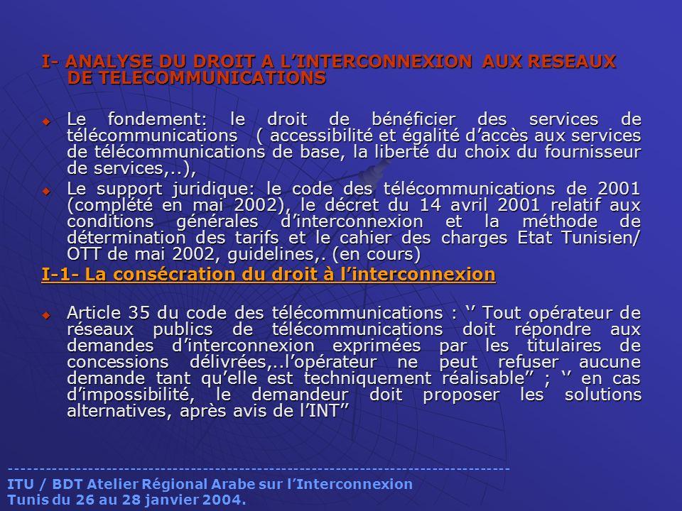 I-1- La consécration du droit à l'interconnexion