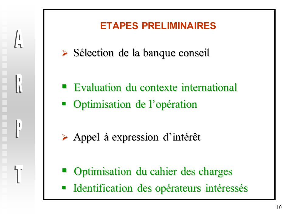 ARPT Evaluation du contexte international