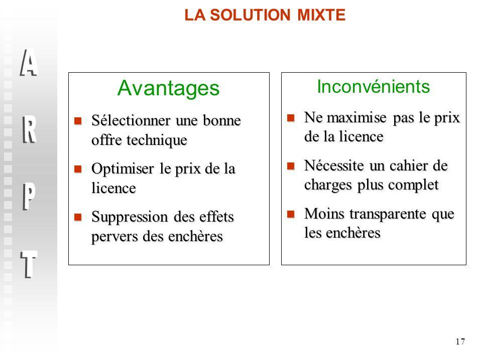 ARPT Avantages Inconvénients LA SOLUTION MIXTE
