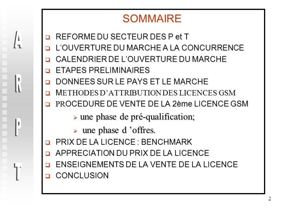 ARPT SOMMAIRE une phase de pré-qualification; une phase d 'offres.