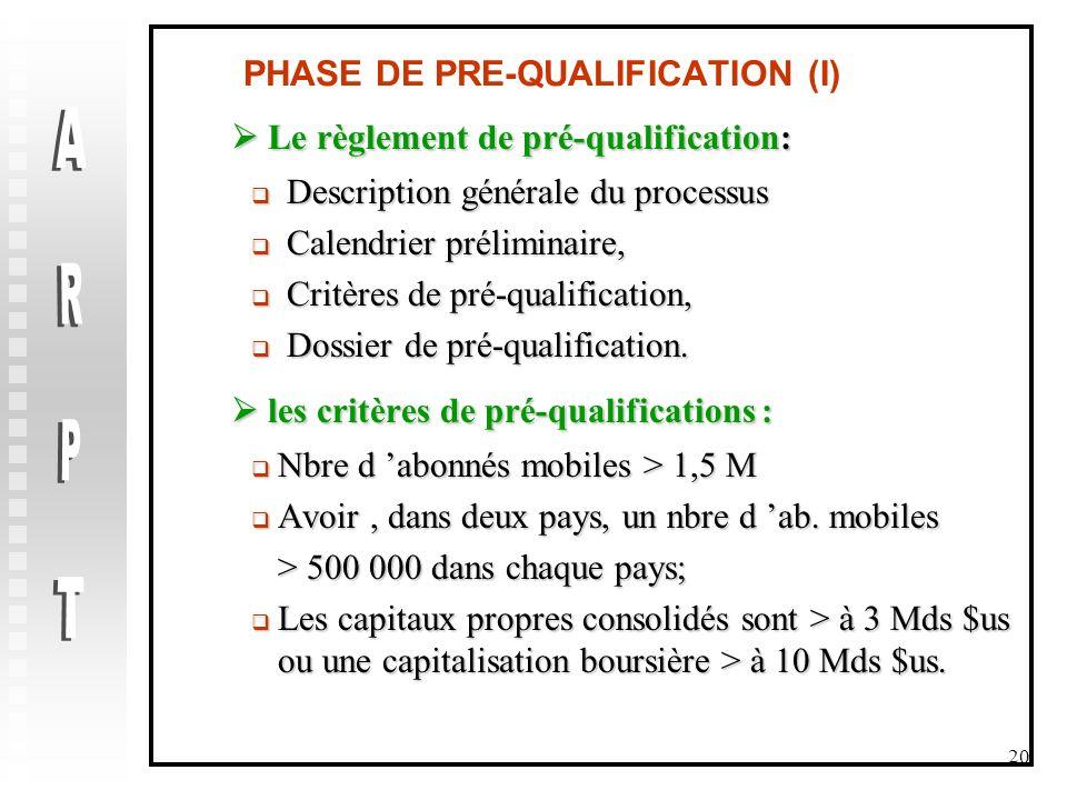 PHASE DE PRE-QUALIFICATION (I)