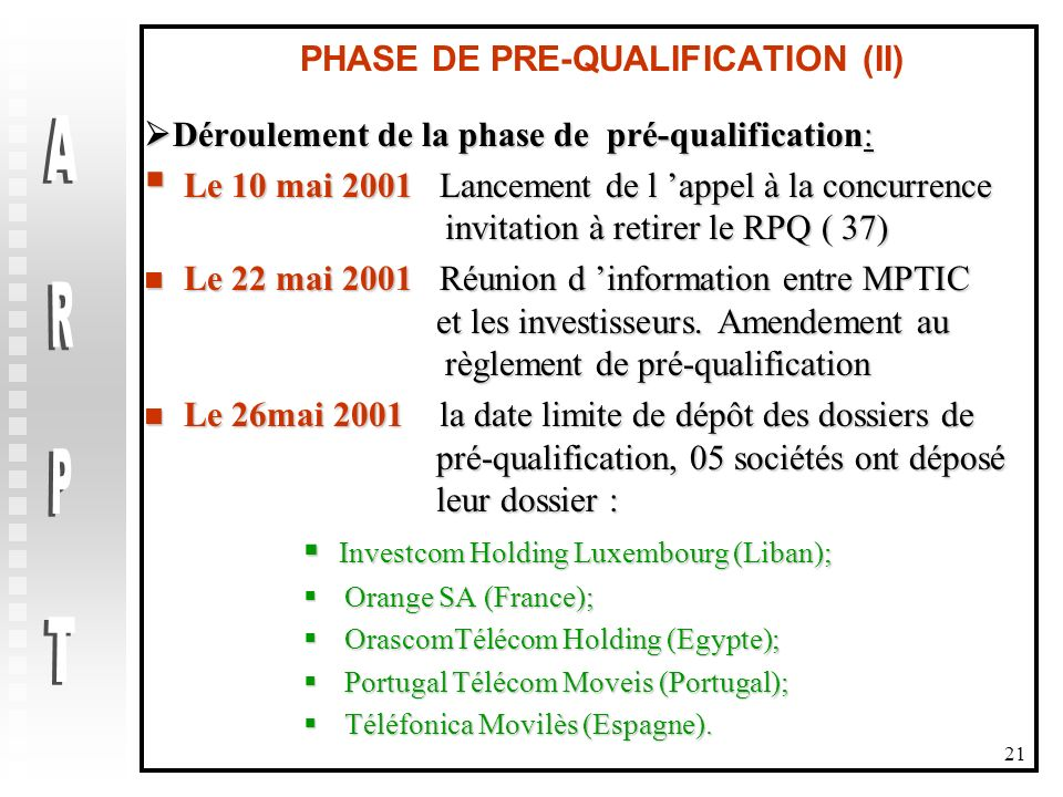 PHASE DE PRE-QUALIFICATION (II)