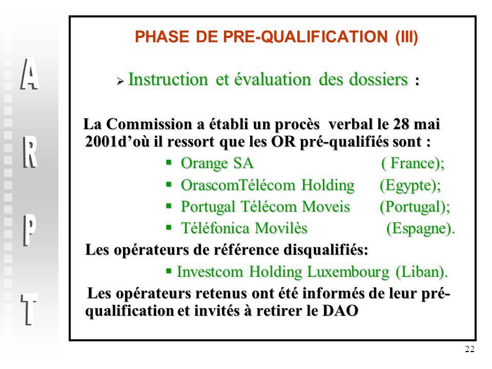 PHASE DE PRE-QUALIFICATION (III)