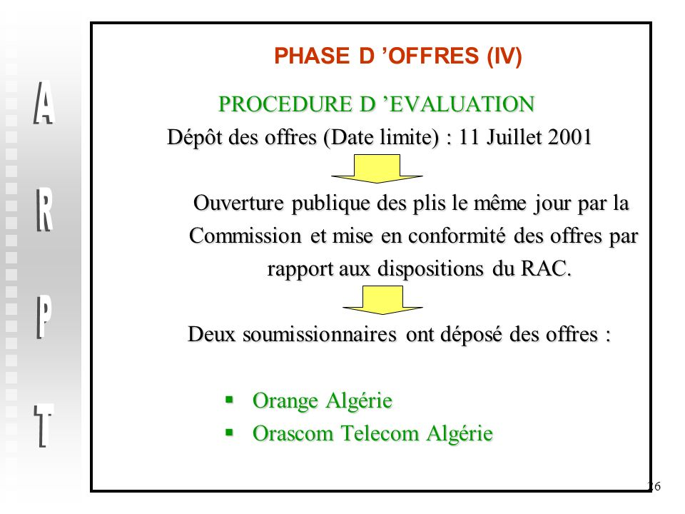 ARPT PHASE D 'OFFRES (IV) PROCEDURE D 'EVALUATION