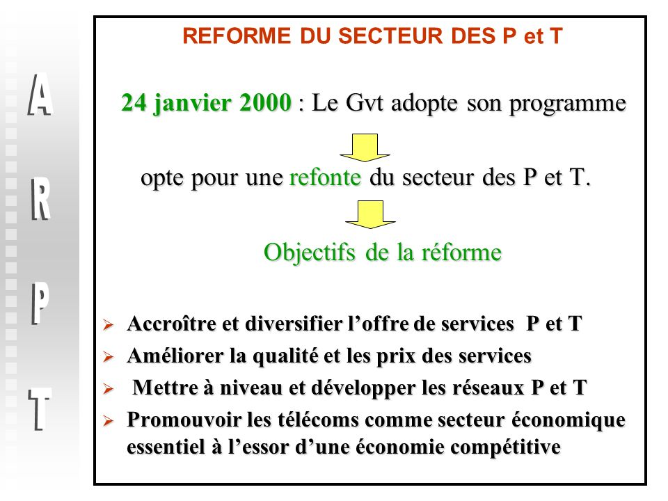 REFORME DU SECTEUR DES P et T