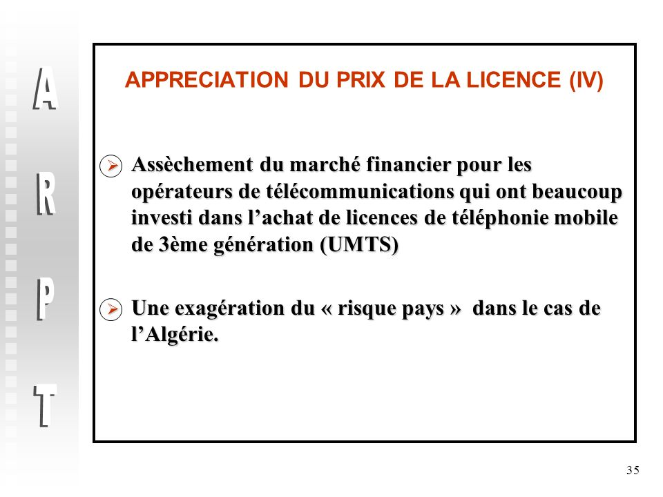 APPRECIATION DU PRIX DE LA LICENCE (IV)
